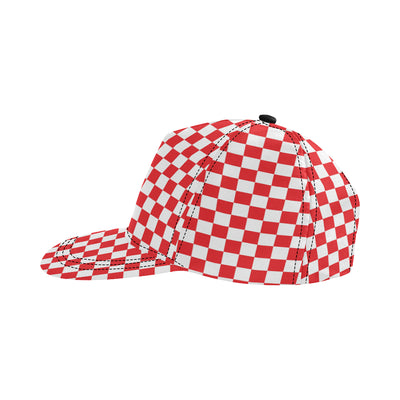 Checkered Red Pattern Print Design 04 Snapback Hat