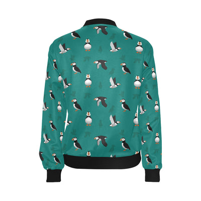 Puffin Pattern Print Design A02 Women Bomber Jacket