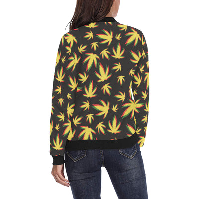 Pot Leaf Pattern Print Design A02 Women Bomber Jacket