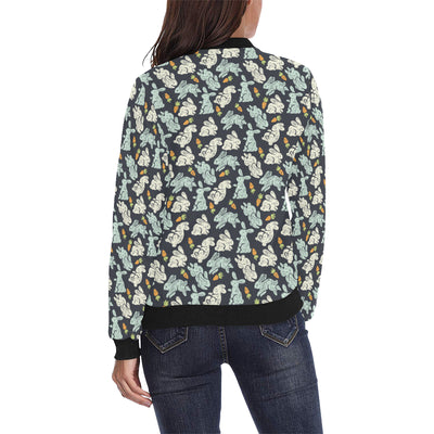 Bunny Pattern Print Design 04 Women Bomber Jacket