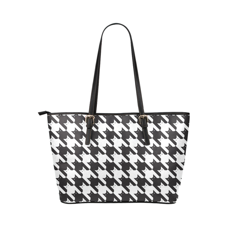 Cat HoundstoothPattern Print Design 01 Shopping Leather Tote Bag