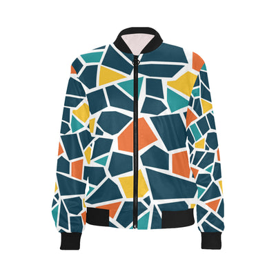 Mosaic Pattern Print Design 02 Women Bomber Jacket