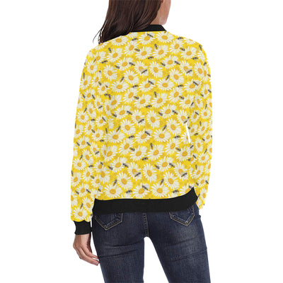 Bee Daisy Pattern Print Design 06 Women Bomber Jacket
