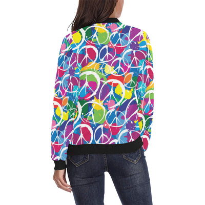 Peace Sign Colorful Pattern Print Design A02 Women Bomber Jacket