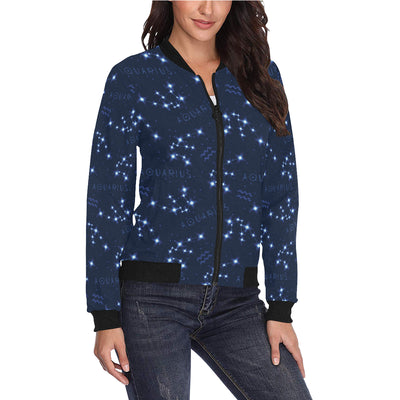 Aquarius Zodiac Pattern Print Design 02 Women Bomber Jacket