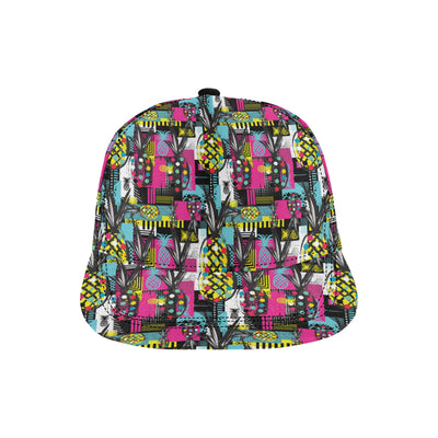 Pop Art Pineapple Pattern Print Design A02 Snapback Hat