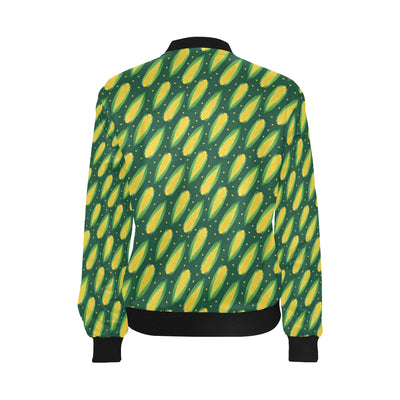 Corn Pattern Print Design 03 Women Bomber Jacket