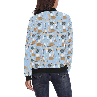 Cooking Kitchen Tools Pattern Print Design 02 Women Bomber Jacket