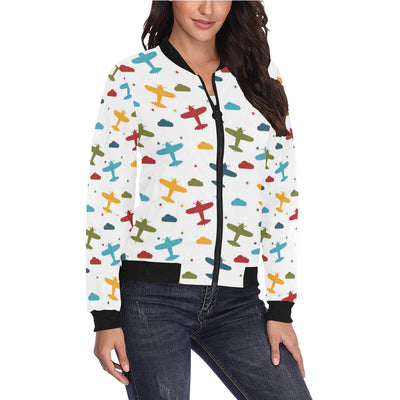 Airplane Pattern Print Design 06 Women Bomber Jacket