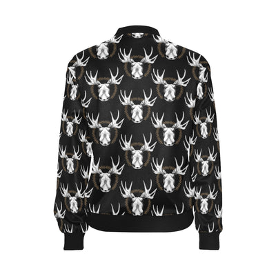 Moose Pattern Print Design 02 Women Bomber Jacket