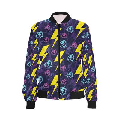 Lightning Thunder Pattern Print Design 01 Women Bomber Jacket