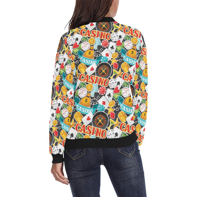 Casino Pattern Print Design 03 Women Bomber Jacket