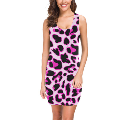 Pink Leopard Print Mini Dress