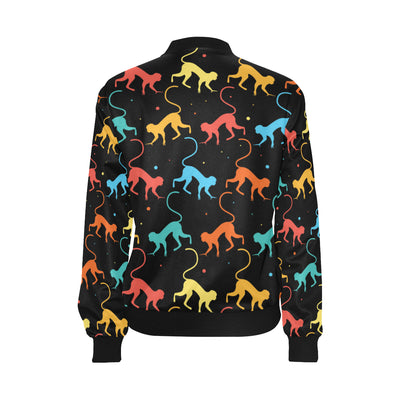 Monkey Pattern Print Design 01 Women Bomber Jacket