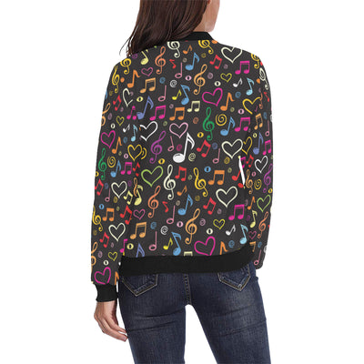 Music note Pattern Print Design A01 Women Bomber Jacket