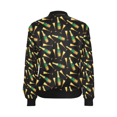 Champagne Pattern Print Design 02 Women Bomber Jacket