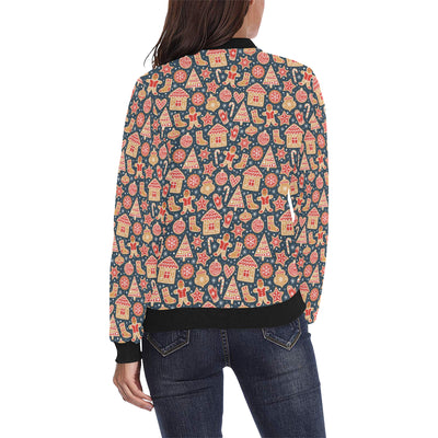 Gingerbread Pattern Print Design 03 Women Bomber Jacket