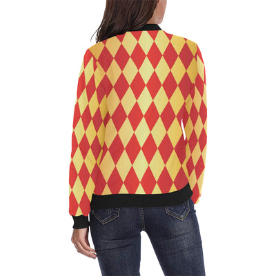 Harlequin Pattern Print Design 03 Women Bomber Jacket