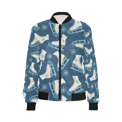 Ice Skate Pattern Print Design 01 Women Bomber Jacket