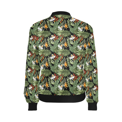 Bird Of Paradise Pattern Print Design 02 Women Bomber Jacket