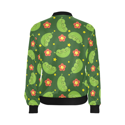 Peas Pattern Print Design A01 Women Bomber Jacket