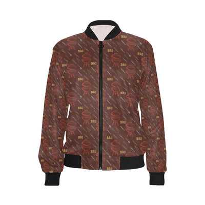 Barbecue Pattern Print Design 01 Women Bomber Jacket