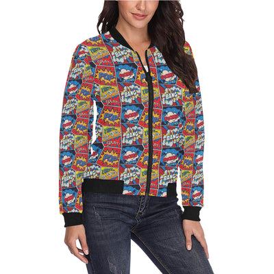 Comic Book Pattern Print Design 03 Women Bomber Jacket