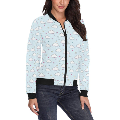 Cloud  Pattern Print Design 01 Women Bomber Jacket