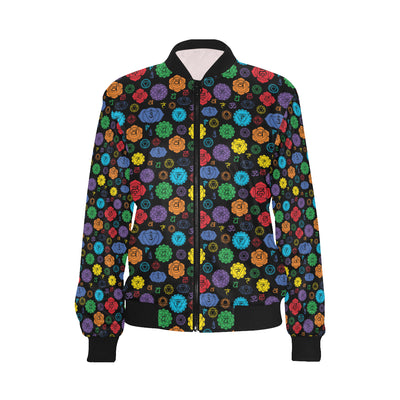 Chakra Pattern Print Design 01 Women Bomber Jacket