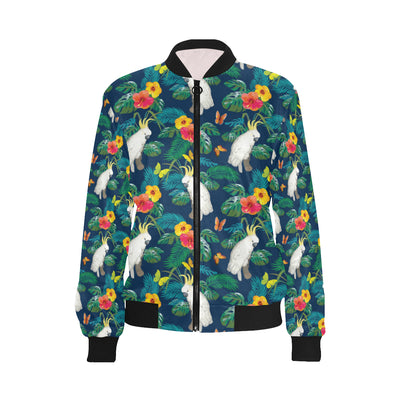 Cockatoo Tropical Pattern Print Design 02 Women Bomber Jacket