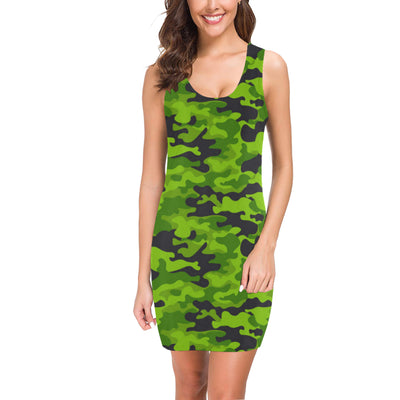Green Kelly Camo Print Mini Dress