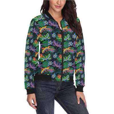 Gecko Colorful Pattern Print Design 01 Women Bomber Jacket