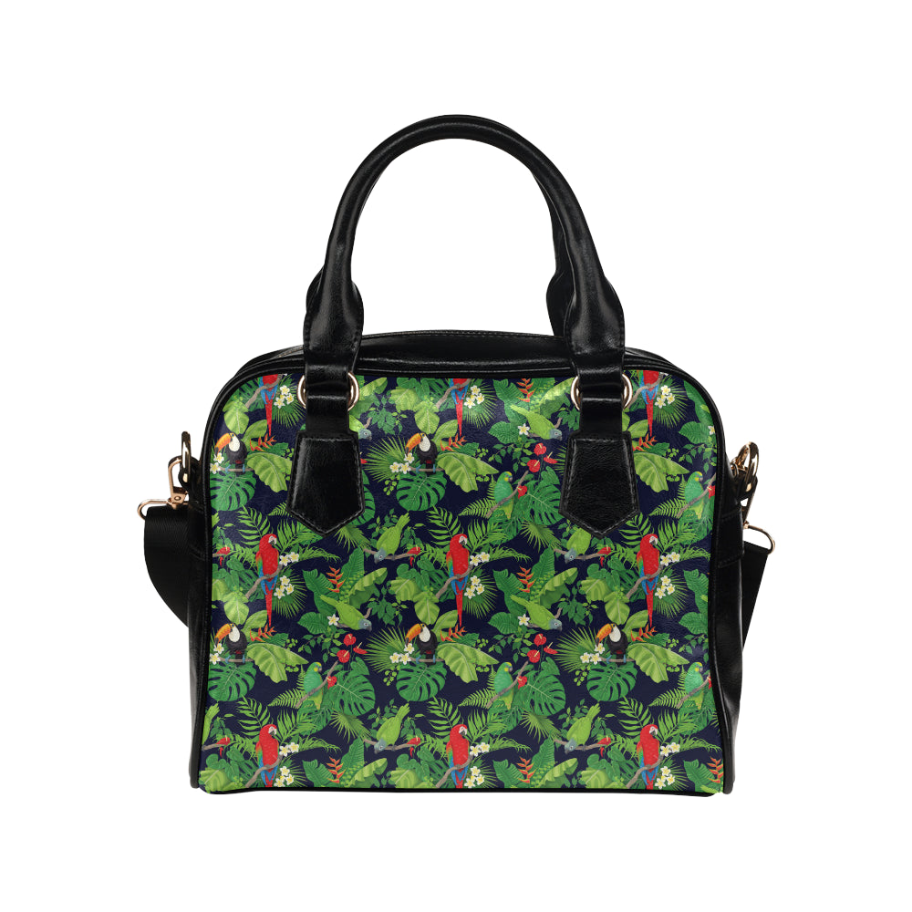 Rainforest Parrot Pattern Print Design A03 Shoulder Handbag