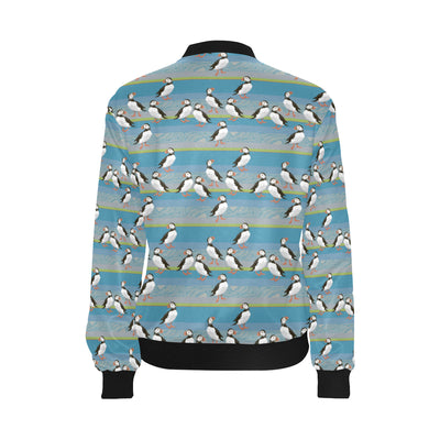 Puffin Pattern Print Design A01 Women Bomber Jacket