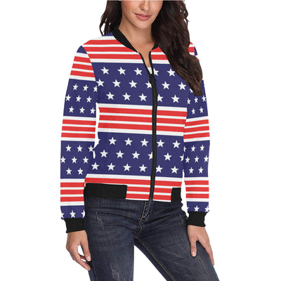 Patriotic Pattern Print Design A04 Women Bomber Jacket