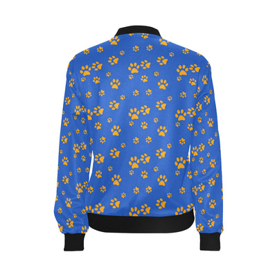 Paw Pattern Print Design A03 Women Bomber Jacket