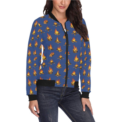 Campfire Pattern Print Design 03 Women Bomber Jacket
