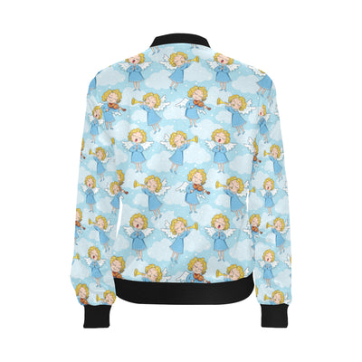 Angel Musician Pattern Print Design 09 Women Bomber Jacket