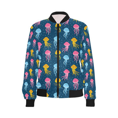 Jellyfish Pattern Print Design 04 Women Bomber Jacket