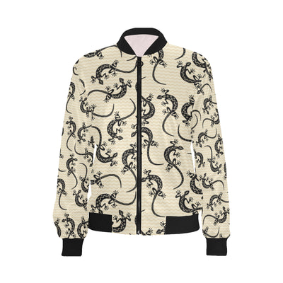 lizard Pattern Print Design 02 Women Bomber Jacket