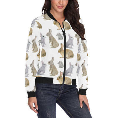Rabbit Pattern Print Design 02 Women Bomber Jacket