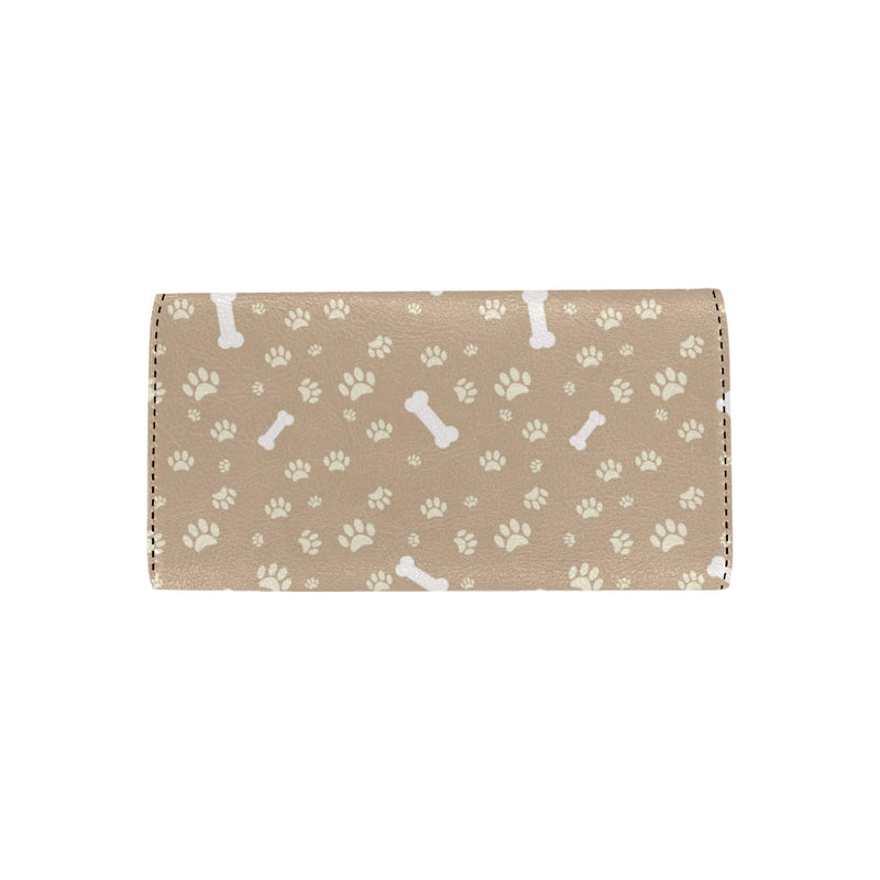 Dog Bone Paw Pattern Print Design 01 Women Trifold Wallet