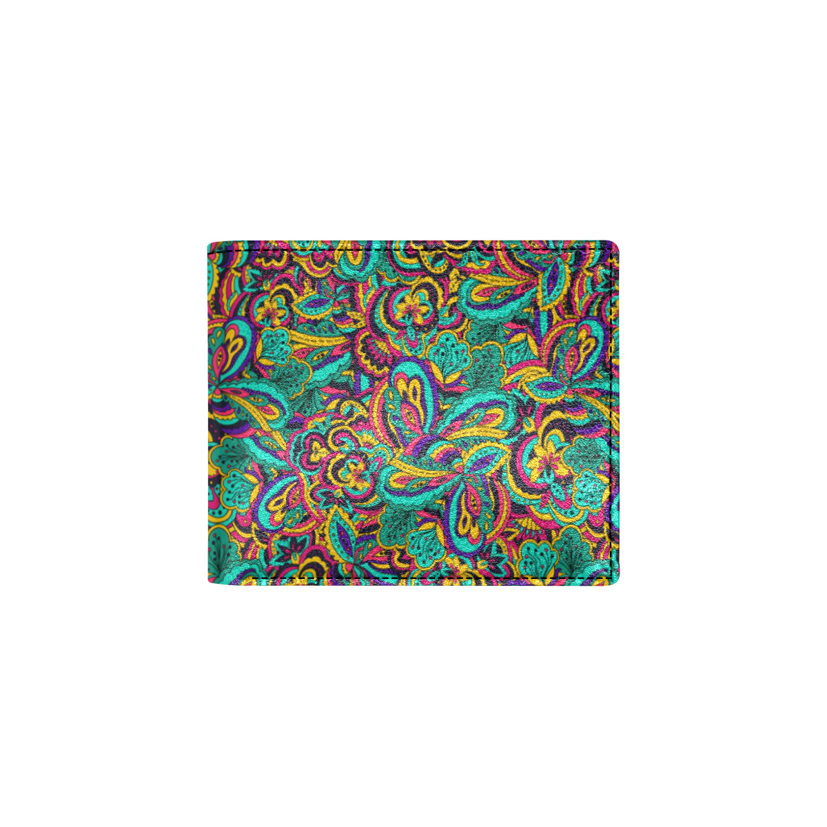 Psychedelic Trippy Floral Design Men ID Card Wallet
