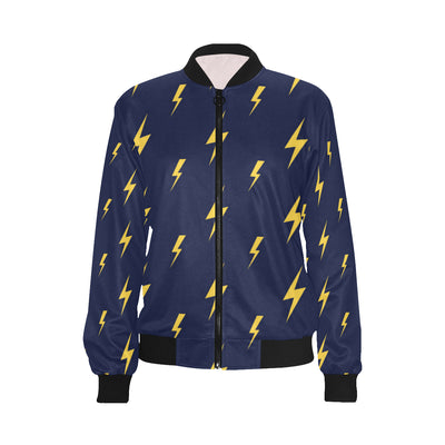 Lightning Thunder Pattern Print Design 03 Women Bomber Jacket