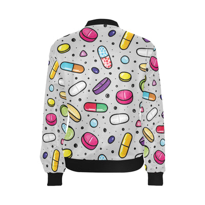 Pill Pattern Print Design A04 Women Bomber Jacket