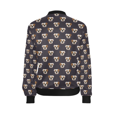 Bulldogs Pattern Print Design 03 Women Bomber Jacket