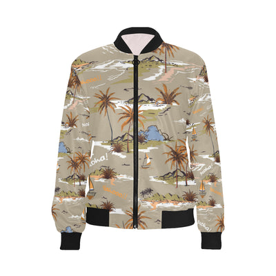 Pacific island Pattern Print Design A05 Women Bomber Jacket
