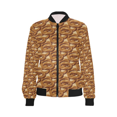 Bagel Pattern Print Design 02 Women Bomber Jacket