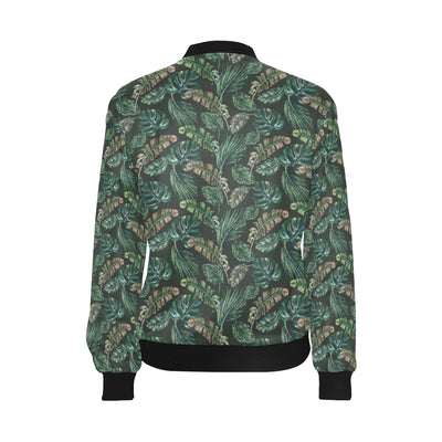 Banana Leaf Pattern Print Design 05 Women Bomber Jacket