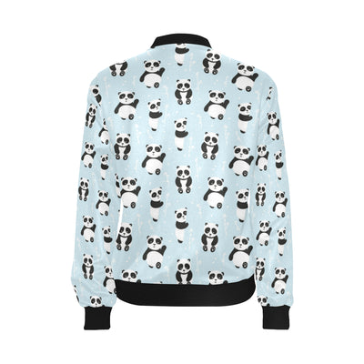 Panda Pattern Print Design A01 Women Bomber Jacket